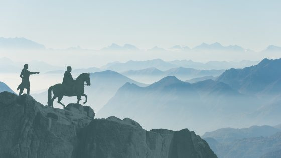 Silhouette Ritter auf Pferd mit Knappe